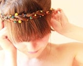 SALE - was 34.50 - Summer splash - versatile crocheted hairpiece / necklace / - orange, yellow and turquoise - Free Worldwide Shipping