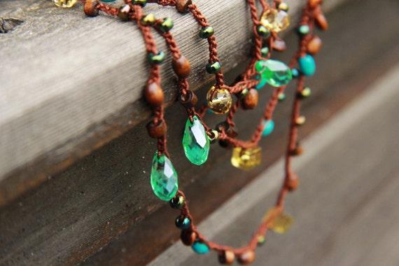 Teal and citrine - Long necklace / bracelet - crocheted versatile necklace / bracelet  - free worldwide shipping