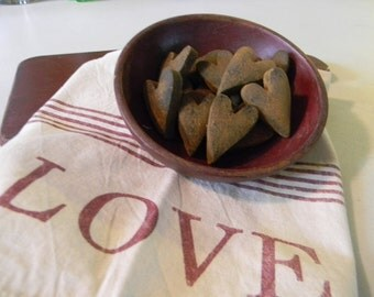 Primitive Blackened Beeswax Heart Bowl Fillers  #104