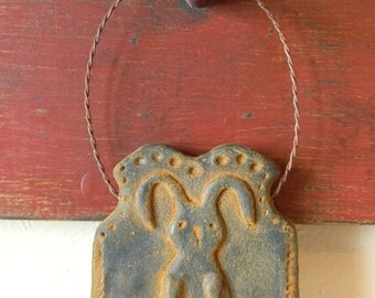 Primitive Blackened Beeswax Bunny Ornament  #008