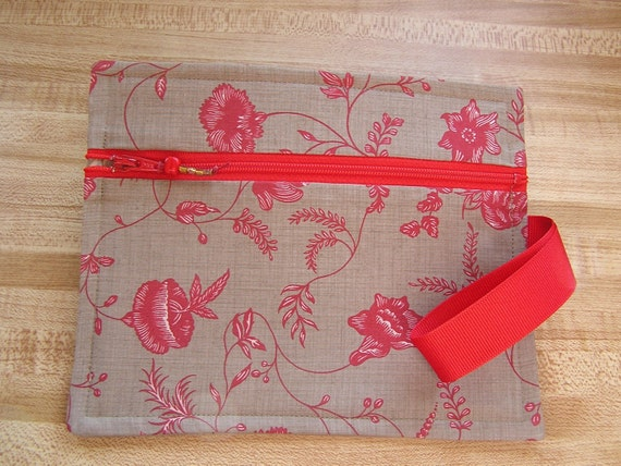 Red Floral Accessory Case