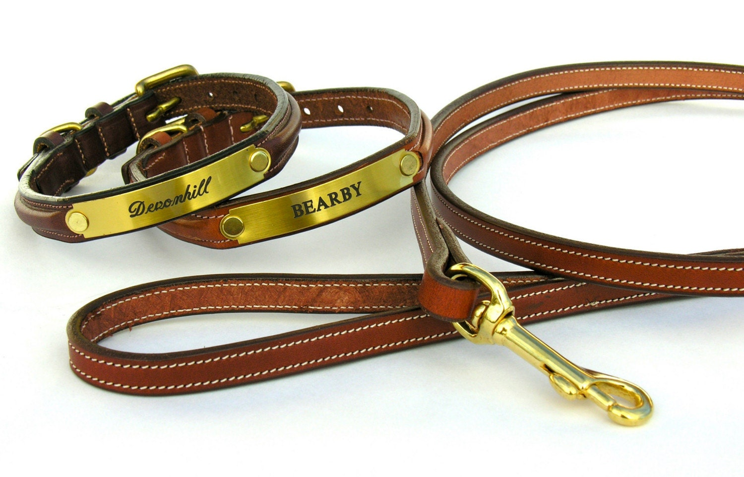 Custom Leather with Brass Plate Dog Collars