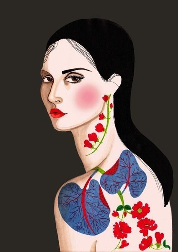 PRINT / Buy 1 get 2 / Exotic flower tattoo 8x10