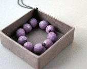 Black Necklace with Glass Lavender Beads