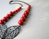 Red Bead and Black Leaf Necklace