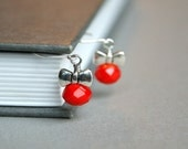 Tiny Red Bead Bow Earrings - Sterling Silver, Glass