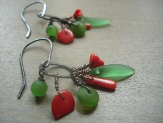 Oxidized Copper Earrings with Red and Green Bead Mix