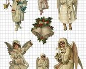 Little Victorian Angels Christmas Digital Collage Sheet