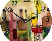 "Tuscany Wine  large Wall Clock 11"" round"