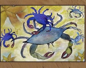 Sandy Crab and Starfish indoor-outdoor floor mat