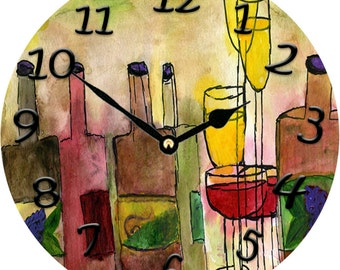 "Tuscany Wine  Wall Clock 11"" round"