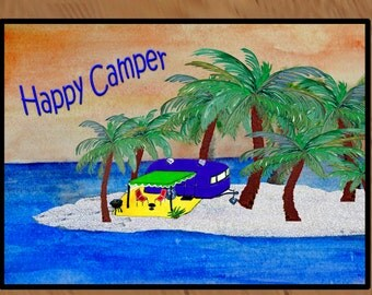 Happy Camper Trailer....Camper/RV floor mat rug from art