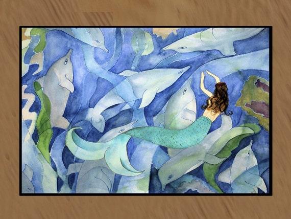 Dolphin and Mermaid Party  indoor-outdoor floor mat