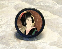 GEISHA with Parasol in the Rain TIE TACK - PIN or Ring