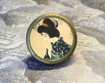 GEISHA in BLUE by Ito Shinsui TIE TACK - PIN or adjustable ring