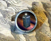 Police Box time travel machine tie tack or ring