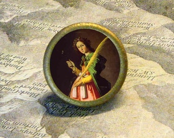 SAINT APPOLLINA - vintage artwork - as TIE TACK or adjustable ring