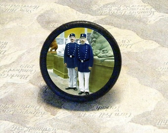 Vintage photo - PARIS POLICE stand at Attention - as TIE TACK - PIN or adjustable ring