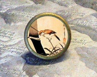 BIRD and BAMBOO by Ando Hiroshige - as TIE TACK - PIN or ring