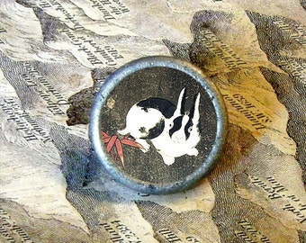 JAPANESE RABBIT - You have Bunny burrowed your way into my heart - as TIE TACK - PIN or adjustable ring