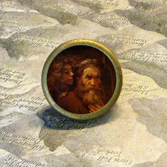 SAINT MATTHEW - vintage depiction - as TIE TACK / PIN or adjustable ring
