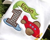 Boys Appliqued Airplane with Age Tee