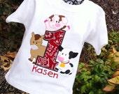 Boys Barn Birthday, Farm Birthday Shirt, Barnyard Birthday, Boys 1st Birthday, Boys Tractor Shirt, Barn Birthday, Barn Shirt