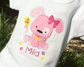Personalized Appliqued Puppy Dog Birthday T Shirt