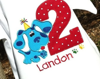 Boys Appliqued Blues Birthday Dog