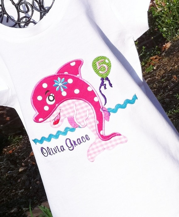 Girls Personalized Appliqued Dolphin Shirt