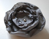 gray whimsical flower hair clip