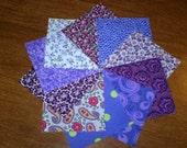 50 4 x 4 Purple Quilt Squares Quilting Fabric Material KIT