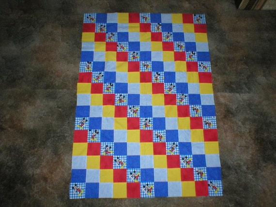 MICKEY  MOUSE - quilt top   new  ( 31 x 48)