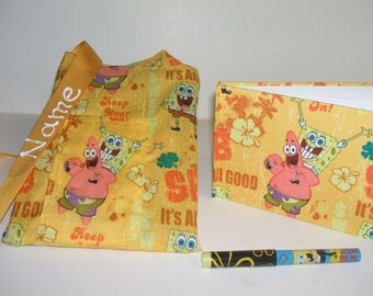Disney Spongebob Squarepants autograph book bag with book and pens personalized for FREE adjustable strap