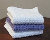 White and Purple Cotton Washcloths