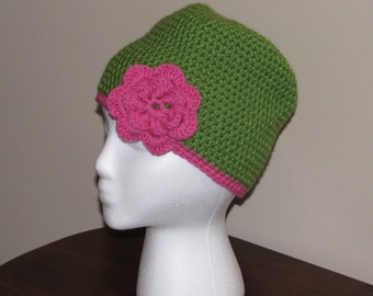 Granny Smith Apple Green Beanie with Pink Accents