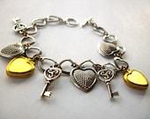 Heart Charm Bracelet, Key to my heart bracelet, Mixed Metal locket bracelet Steampunk silver jewelry