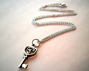Silver Key Necklace small antiqued silver skeleton key pendant on silverplated chain simple jewelry tiny key necklace