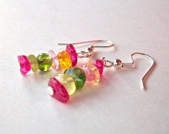 Tourmaline quartz gemstone earrings, multicolor earrings, beaded stack dangle earrings silver earwires hot pink, green, yellow beads