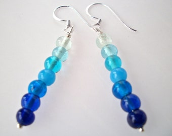 Blue ombre earrings, Hypoallergenic .999 silver filled beaded blue earrings, stack dangle earrings silver earwires