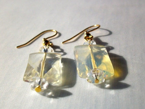 SALE 50% OFF Crystal quartz and pineapple quartz gemstone earrings with gold earwires
