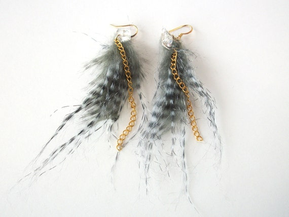 SALE Faux feather earrings, faux fur earrings hypoallergenic vegan trendy jewelry wire wrapped with natural quartz crystal and gold chain