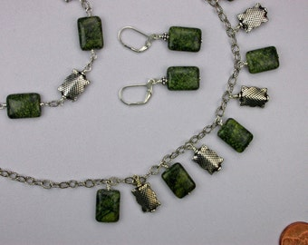 Serpentine and Sterling Silver Necklace Set