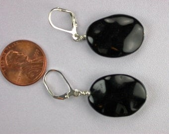 Wavy Black Onyx Earrings