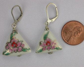 Porcelain Triangles Earrings