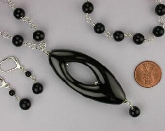 Black Ceramic Necklace Set