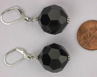 Faceted Black Earrings