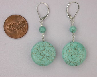 Flat Round Turquoise Earrings