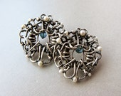 Large Victorian inspired sterling silver, freshwater pearl and London Blue Topaz post earrings