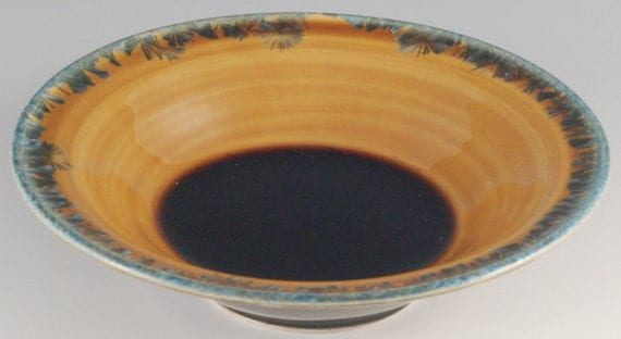 Bowl - Amber glaze with green crystals